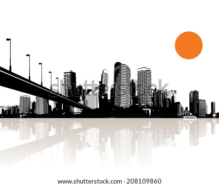 Black and white cityscape with water reflection and bridge. - stock vector