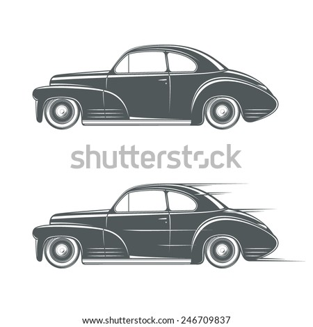 Black and white classic car icon. Vector illustration