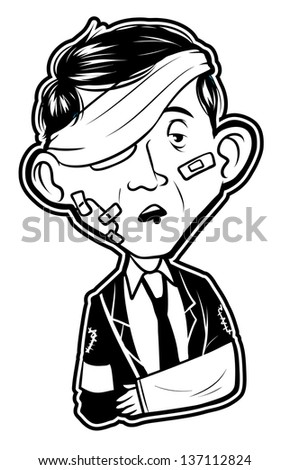 black and white clipart Injured Businessman