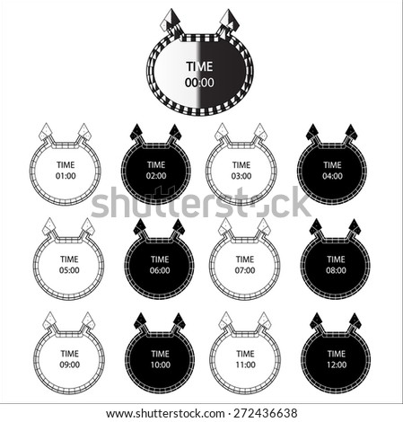 Black and White Clock icons,Vector - stock vector