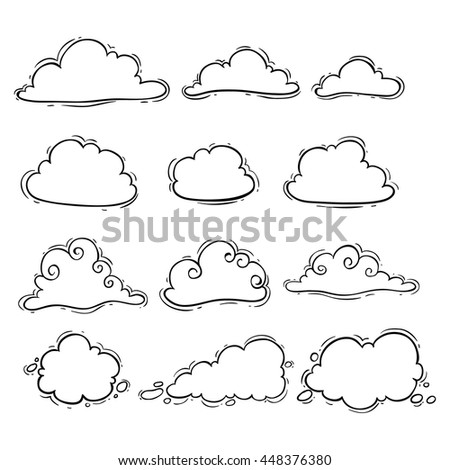 Black and white clouds set using doodle art - stock vector