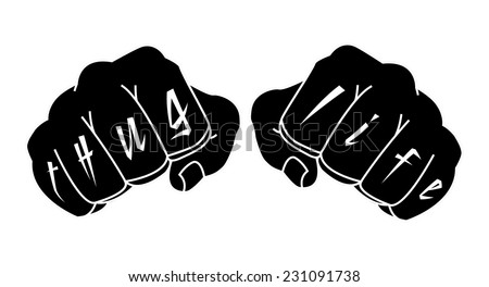 Black and white color arms with Thug Life tattoo on fingers. Clenched fists illustration isolated on white - stock vector