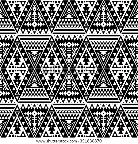 black and white color  tribal Navajo seamless pattern with triangles. aztec fancy abstract geometric art print. ethnic hipster backdrop. Wallpaper, cloth design, fabric, paper, wrapping, textile. - stock vector