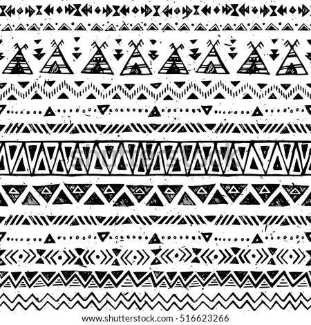 Black White Color Tribal Vector Seamless Stock Vector 516623266 ...
