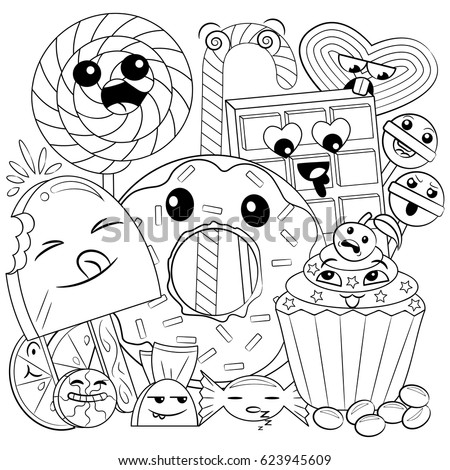 black and white coloring page of cute and sweet doodle candies for children - Coloring Pages Cute