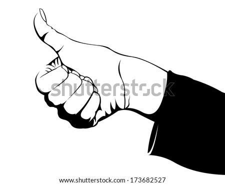 Black and white comic style hitchhiker woman hand showing thumbs up. Travel or approval concept. Easy editable vector illustration.