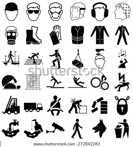 Black and white construction manufacturing and engineering health and safety related graphics set isolated on white background