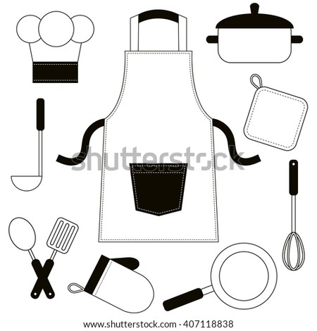 Black and white cooking utensils and kitchenware icons - stock vector