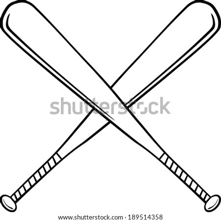 Black and White Crossed Baseball Bats. Vector Illustration Isolated on white - stock vector