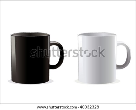 black and white cup - stock vector
