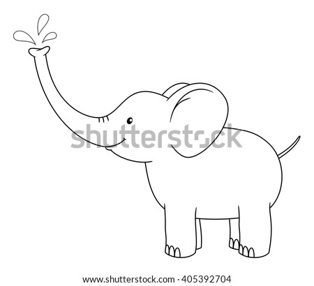 Black and white cute cartoon baby elephant spraying water from his nose. Coloring book for the children. Vector illustration - stock vector