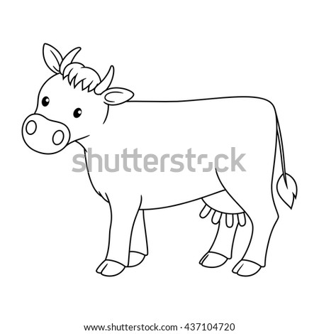 Black And White Cute Cartoon Cow Coloring Book For The Children Vector Illustration