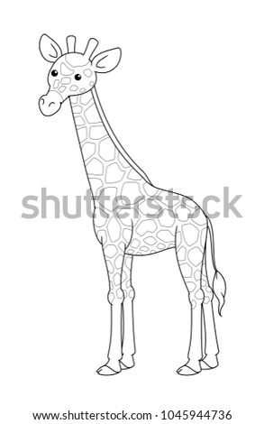 Black And White Cute Cartoon Giraffe Coloring Pages For The Children Vector Illustration