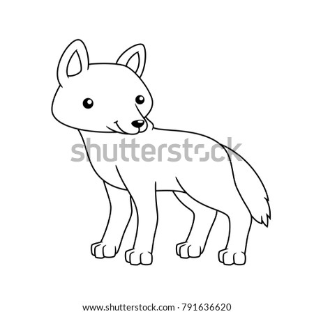 Black And White Cute Cartoon Wolf Coloring Pages For The Children Vector Illustration