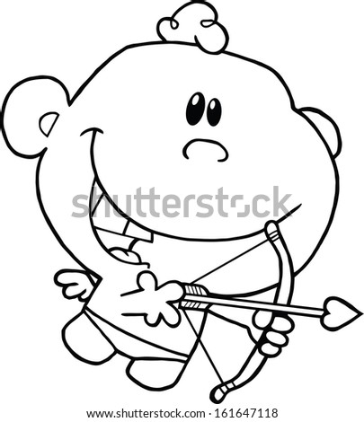 Black And White Cute Cupid Flying With Bow And Arrow. Vector Illustration Isolated on white - stock vector