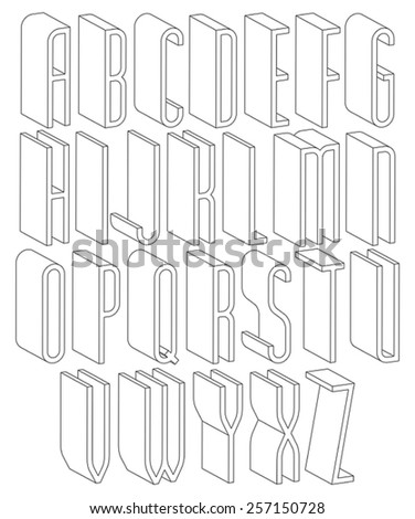 Black and white 3d font made with thin lines, single color simple tall letters alphabet, best for use in web design and advertising, for use in headlines, elegant symbols with good style. - stock vector