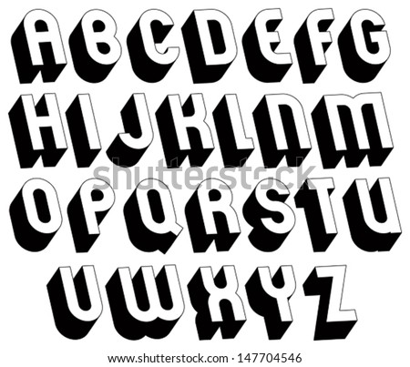 Black White 3d Font Single Color Stock Vector 147704546 - Shutterstock