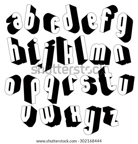 Black and white 3d font, single color simple and bold letters alphabet, best for use in web design and advertising, for use in headlines, elegant symbols with good style. - stock vector