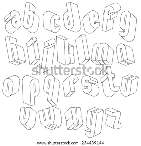 Black and white 3d font, single color simple letters alphabet made with lines, best for use in web design and advertising, for use in headlines, elegant symbols with good style. - stock vector