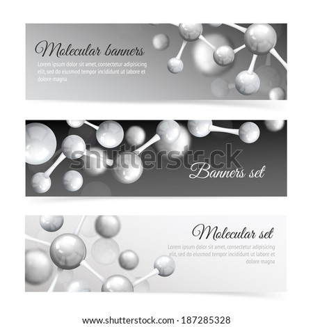 Black and white 3d physics abstract atomic structure molecule model banner set vector illustration - stock vector