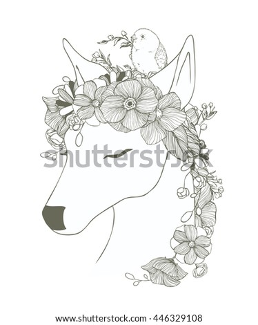 Black and white deer with ornamental flowers, bird, magic composition.Monochrome Pattern:Floral Texture,Decorative elements Adult Coloring Book page.Hand drawn vector illustration, separated elements. - stock vector