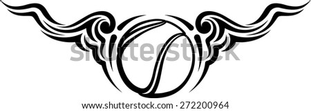 Black and white design of a tennis ball with flowing curvy wings