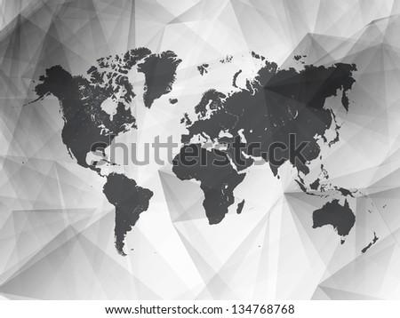 Black and White Detailed Vector World Map | EPS10 Design - stock vector