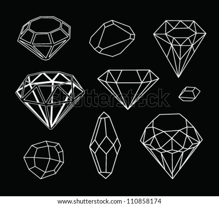 Black and white diamonds. Geometric background with linear diamonds. - stock vector