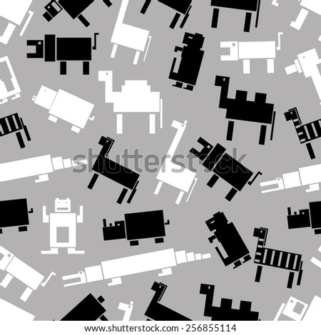 black and white digital retro animals pattern eps10 - stock vector