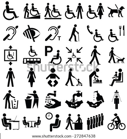 Black and white disability and people related graphics collection isolated on white background - stock vector