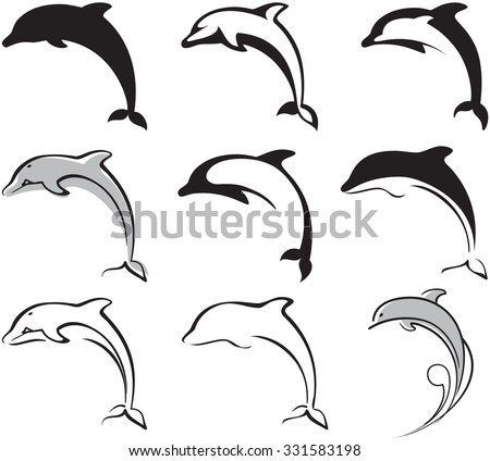 Dolphin silhouette stock images royalty free images vectors black and white dolphins set for your design pronofoot35fo Choice Image