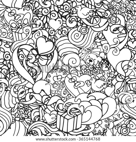 Black and white doodle abstract decorative Love vector seamless pattern with curls, hearts, presents, roses, etc. - stock vector