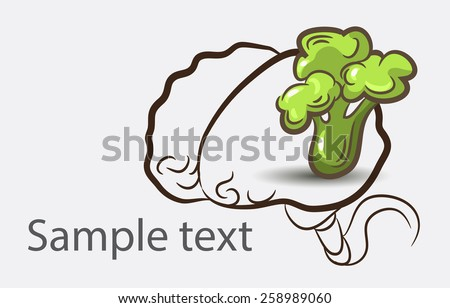 Black and white doodle brain background with broccoli and place for sample text - stock vector