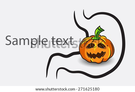 Black and white doodle brain background with pumpkin and place for sample text - stock vector