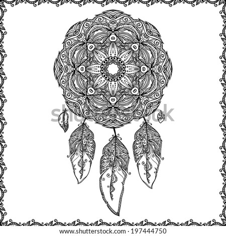 Black and white doodle dream catcher - stock vector