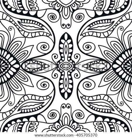 Black and white doodle floral geometric background seamless pattern, repeating monochrome fabric texture. Tribal ethnic ornament, vector decorative graphic illustration - stock vector