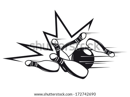 Black and white doodle sketch of a set of skittles being bowled over by a bowling ball and knocked in all directions during a game of bowls at a bowling alley - stock vector