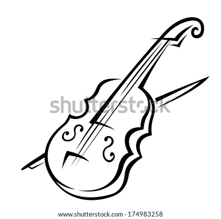Black and white doodle sketch of a violin logo isolated on white background for music design - stock vector