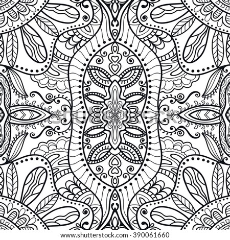 Black and white doodle sketch seamless pattern, repeating monochrome graphic texture. Tribal ethnic ornament. Vector decorative geometric background - stock vector