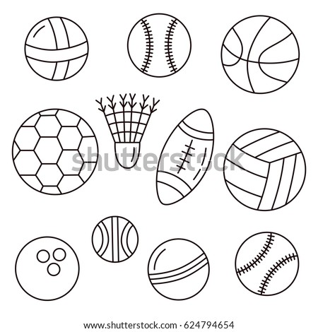 Black and white doodle sport balls vector set