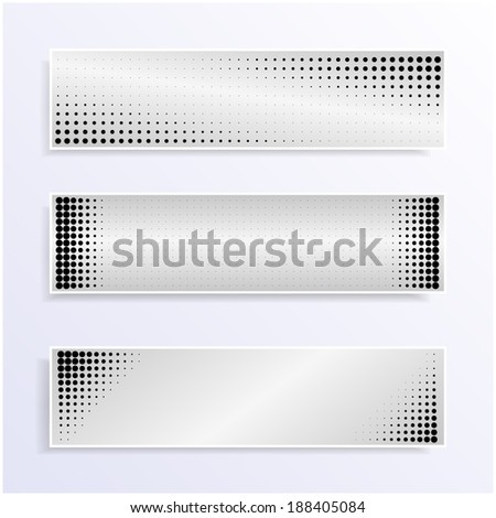 Black and white dotted banners  - stock vector