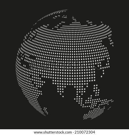 Black and white dotted globe - stock vector