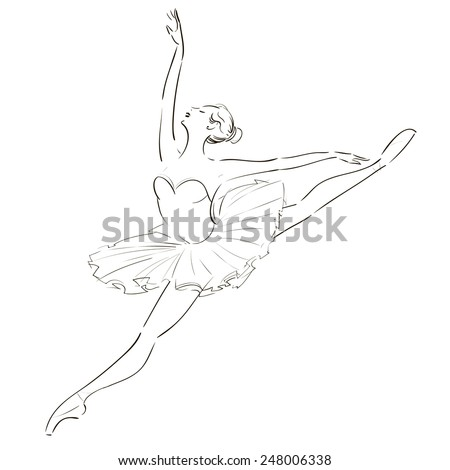 black and white drawing ballerina on a white background,sketch,vector. - stock vector