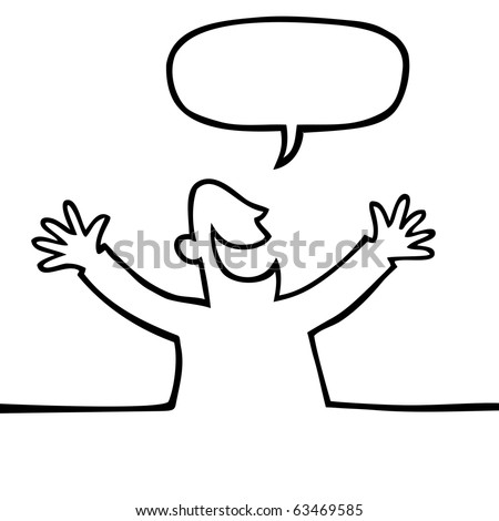 Black and white drawing of a happy person with open arms, shouting something. - stock vector