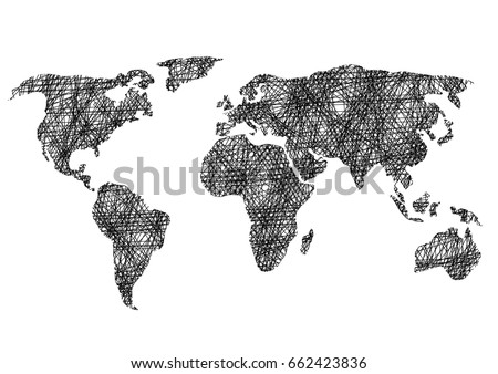 Black white drawing sketch world map vector de stock662423836 black and white drawing sketch world map vector illustration gumiabroncs Images