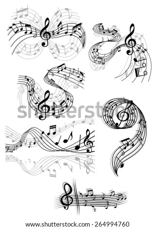 Black and white drawings of swirling musical scores and notes with clefs and overlay over grey designs for decorative design elements - stock vector