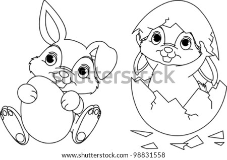 Black and white Easter Bunny coloring page - stock vector