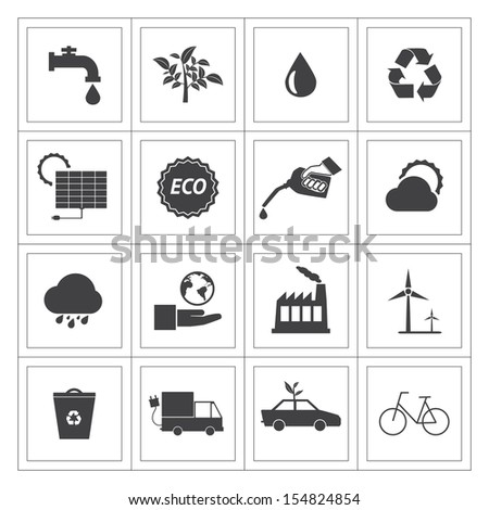 Black and White Eco icons set. - stock vector