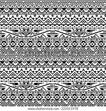 Black and white ethnic geometric aztec seamless pattern, vector - stock vector