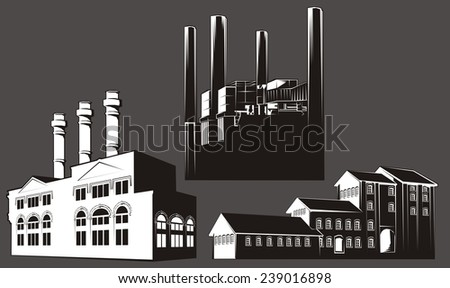 Black and white factory buildings with chimney stacks. White-filled (not transparent) - transparent version also available. - stock vector